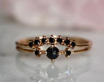 "14K Black Diamond ""Black Swan"" Engagement Ring Set"