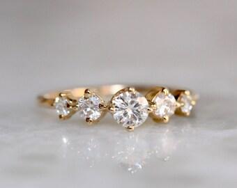 14K Diamond or Moissanite Row Engagement Ring