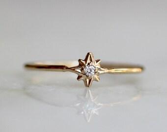 "14K Diamond ""North Star"" Ring"