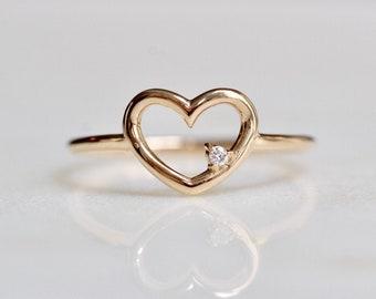 14K Heart Ring