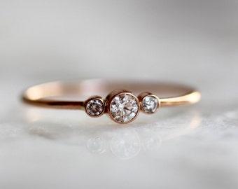 14K Triple Diamond Ring, Three Diamond Ring, Solid Gold, Minimal Jewelry, Engagement Ring, Dainty Ring, Stacking Ring
