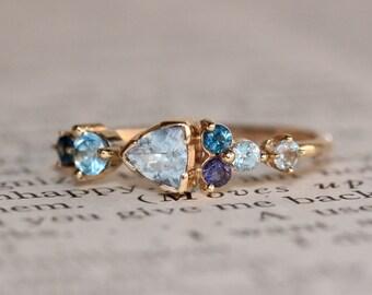 14K Cluster Ring, Something Blue, Aquamarine, Blue Topaz, Solid Gold, Iolite,  Blue Zircon, Gemstone Ring, Mixed Stone Ring Trillion