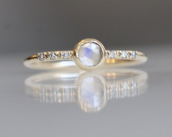 14K Gold Moonstone Diamond Ring, Rosecut Moonstone, June Birthstone, Stacking Ring, Solid Gold Ring, Diamond Band, Dainty
