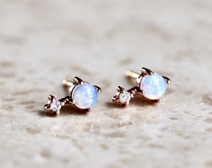 "Featured listing image: 14K Gold Opal Diamond ""Love Drop"" Earrings"