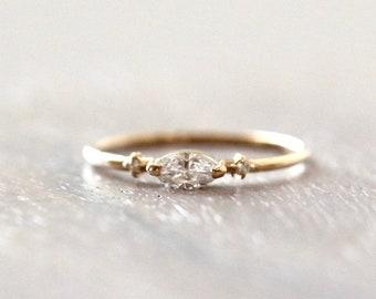 14K Gold Marquise Diamond Ring, Engagement Ring, Dainty Ring, Three Stone Ring, Marquise Engagement Ring, Minimal Jewelry