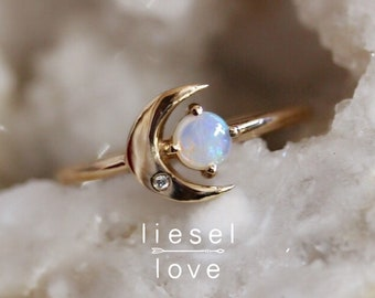 "14K Gold Opal & Diamond ""Moon of My Life"" Ring"