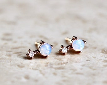 "14K Gold Opal Diamond Earrings, ""Love Drop"" Earrings, Opal Studs, Diamond Earrings, Opal Earrings, October Birthstone, Dainty Jewelry"