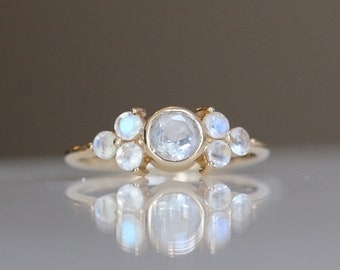14K Gold Rainbow Moonstone Cluster Ring,  Engagement Ring, Dainty Engagement Ring, Blue Moonstone Ring, Dainty Ring, June BirthStone
