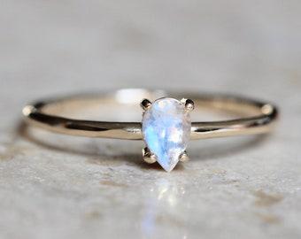 "14K Gold Moonstone ""Chakra"" Ring"
