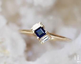 """14K Gold Sapphire Diamond Baguette """"Tilt"""" Ring"""