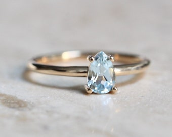 14K Gold Aquamarine Pear Solitaire Ring