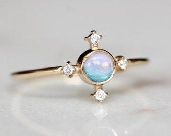 "14K Gold Opal Diamond ""Compass"" Ring"