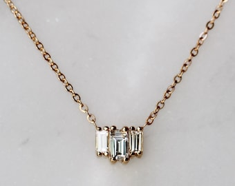 "14K Gold Baguette Diamond ""Empire"" Necklace"