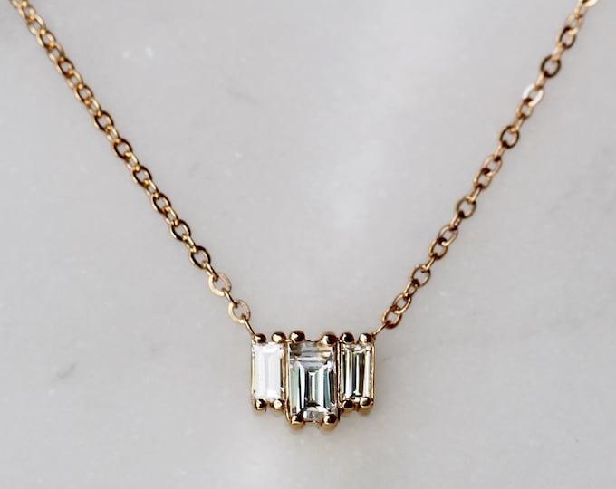 "14K Gold Baguette Diamond Necklace, ""Empire"" Necklace, Diamond Necklace, Dainty Necklace, Art Deco Necklace, Dainty Jewelry, Minimal Jewelry"
