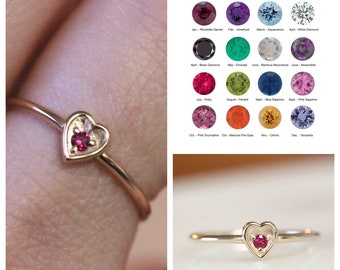14K Gold Birthstone Heart Ring, Solid Gold Ring, January, February, March, April, May, June, July, August, September, November, December