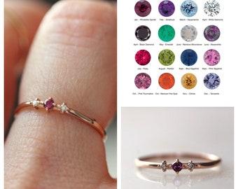 14K Gold Birthstone Ring, Side Diamond Ring, January, February, March, April, May, June, July, August, September, November, December