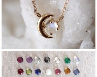 """14K Gold Birthstone Moon Necklace, """"Moon of My Life"""" Necklace, Astrology Necklace, Birthstone Ring, Star and Moon Necklace, Solid Gold"""