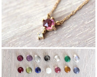 14K Gold Birthstone Necklace, Solid Gold Necklace, Birthstone Diamond Necklace, Layering Necklace, Cabochon Pendant, Real Gold Gemstone
