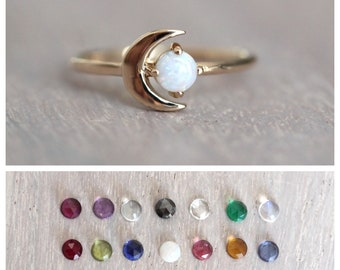 """14K Gold Birthstone Moon Ring, """"Moon of My Life"""" Ring, Astrology Ring, Birthstone Ring, Dainty Ring, Star and Moon Ring, Solid Gold Ring"""