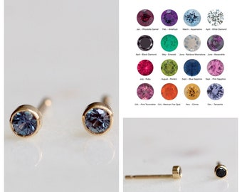 14K Gold Diamond Bezel Studs