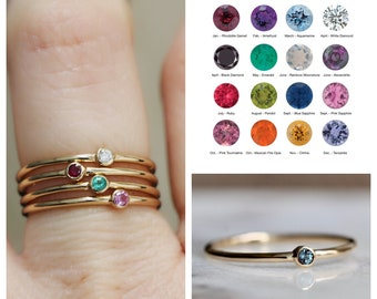 14K Gold Birthstone Ring