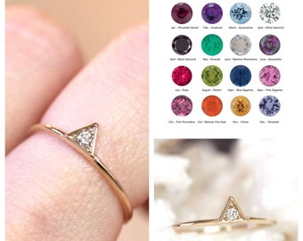 14K Gold Birthstone Triangle Ring, Solid Gold Ring, January, February, March, April, May, June, July, August, September, November, December
