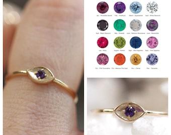 14K Gold Birthstone Eye Ring, Evil Eye Ring, January, February, March, April, May, June, July, August, September, November, December