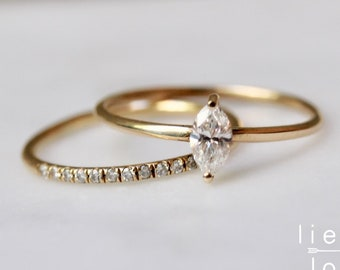 14K Gold Marquise Diamond Ring Set