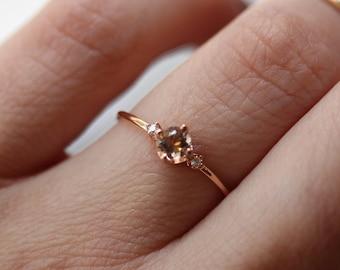 """14K Morganite Diamond """"Peony"""" Ring"""