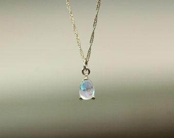 14K Gold Moonstone Pear Necklace, Tear Shape Necklace, Moonstone, Moonstone Necklace, Moonstone Jewelry, Solid Gold, June Birthstone,
