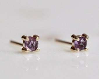 14K Gold Amethyst Studs, Purple Stone, February Birthstone, Everyday Wear, Rose cut stone, Post Studs