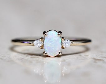 14K Gold Opal Diamond Three Stone Ring