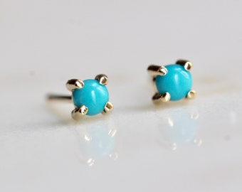 14K Gold Turquoise Studs
