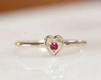 14K Gold Heart Ruby Ring, Red Stone Ring, Burgundy Stone Ring, Heart Jewelry, Push Present, July Birthstone, Ruby Heart