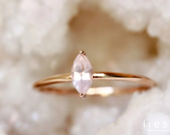 """14K Gold Rose Quartz """"Glow"""" Ring"""
