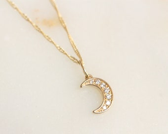 14K Gold Moon Necklace, Crescent Moon Necklace, Diamond Moon Necklace, Layering Necklace, Sparkle Chain, Half Moon Necklace