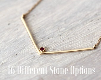 14K Gold Birthstone Necklace, Solid Gold Chevron Necklace, Birthstone Necklace, Layering Necklace, V necklace, Real Gold Gemstone