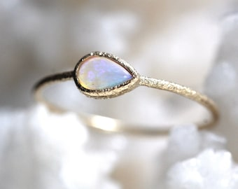 14K Gold Glitter Pear Opal Bezel Ring, Opal Ring Glitter Ring, Glitter Texture, Tear Shape Ring, Dainty Ring, October Birthstone, Solid Gold