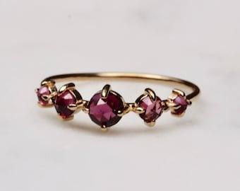 "14K Garnet Row Ring, Garnet ""Talisman"" Ring, Multistone, Rhodolite, Purple Garnet, Rosecut, Stacking Ring, Solid Gold, January Birthstone"