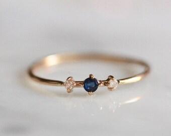 """14K Sapphire & Diamond """"Blue Velvet"""" Ring"""