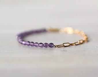 Amethyst 14K Gold Filled Bracelet, Half Chain Half Beaded Bracelet, Gemstone Bracelet, Paperclip Chain, Purple Stone, February Birthstone