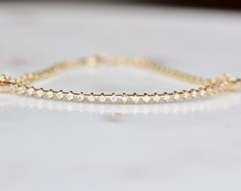 14K Gold Half Chain Diamond Bracelet
