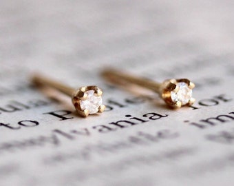 14K Gold Tiny Diamond Studs