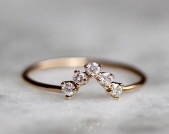 14K Diamond Chevron Wedding Band
