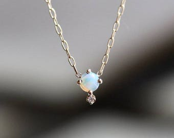 "14K Opal Diamond ""Love Drop"" Necklace"