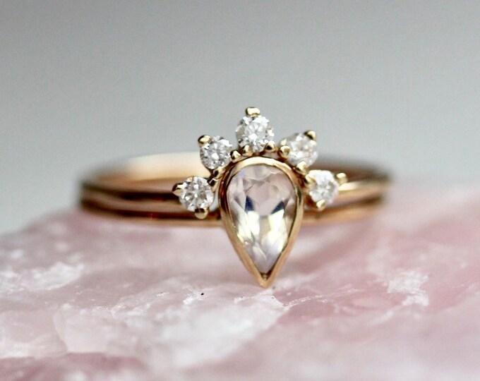 "Featured listing image: 14K Moonstone ""Regal"" Bridal Ring Set"