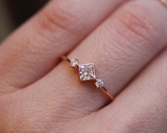 14K Princess Cut Deco Ring