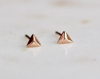 14K Rose Gold Pyramid Studs