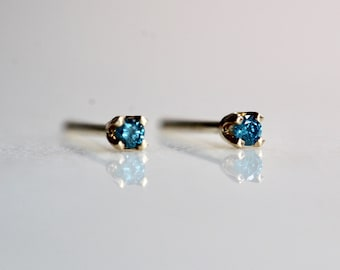 14K Gold Tiny Blue Diamond Studs