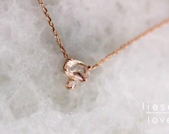 14K Gold Morganite Diamond Necklace